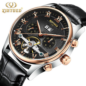 KINYUED Automatic Skeleton Waterproof Mechanical Watch with Leather Strap and Calendar