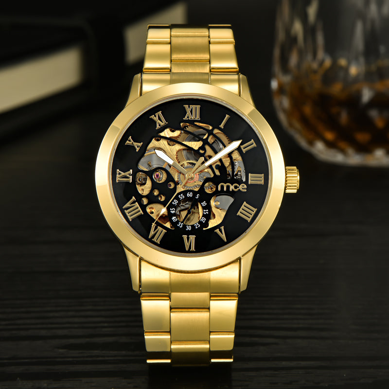 MCE Luxury Golden Black Mechanical Watch