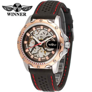 WINNER Military Skeleton Mechanical Watch with Rubber Strap