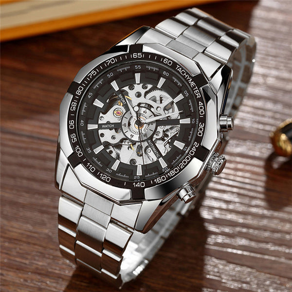 Gorben Skeleton Automatic Mechanical Watch with Stainless Steel Strap