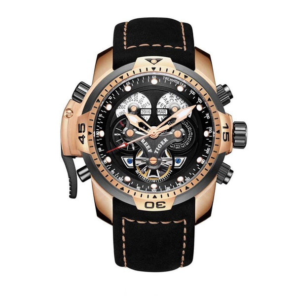 Reef Tiger/RT Military Style  Watch Genuine Leather Strap