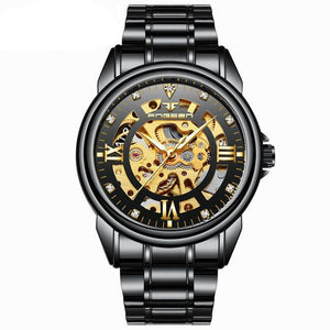FNGEEN Automatic & Waterproof Mechanical Watch with  Black Hollow Face