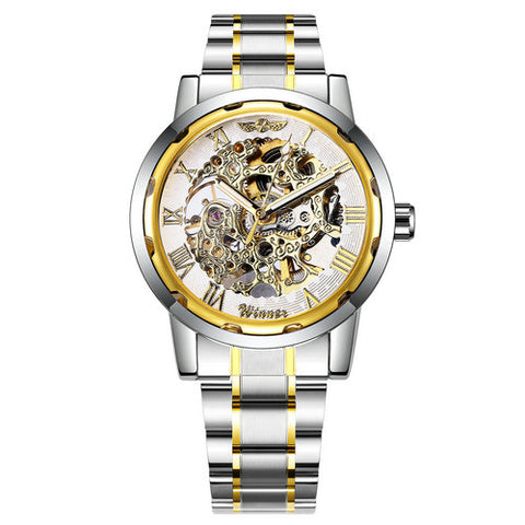 WINNER Fashionable Luxury Full Steel Mechanical Watch