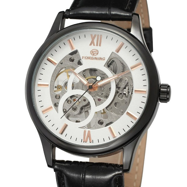 FORSINING Hollow Design Mechanical Watch with Leather Strap