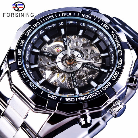 Forsining Silver Stainless Steel Waterproof Mechanical Watch