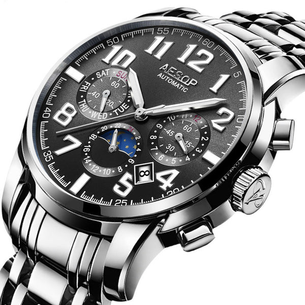 AESOP Automatic Stainless Steel Mechanical Wristwatch Shock Proof