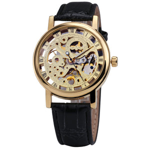 Winner Classic Gold Elegant Mechanical Watch with Leather Strap