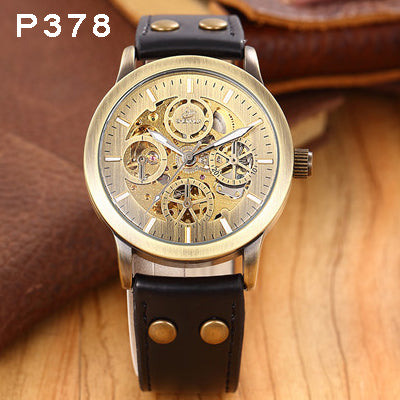 Casual Antique Automatic Mechanical Watch with Leather Strap