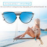 Fashionable Cat Eye Women Sunglasses Metal Frame UV400 Flat Mirrored Lens Day Vision for Outdoor Sport Cycling Traveling Fishing Hiking Camping
