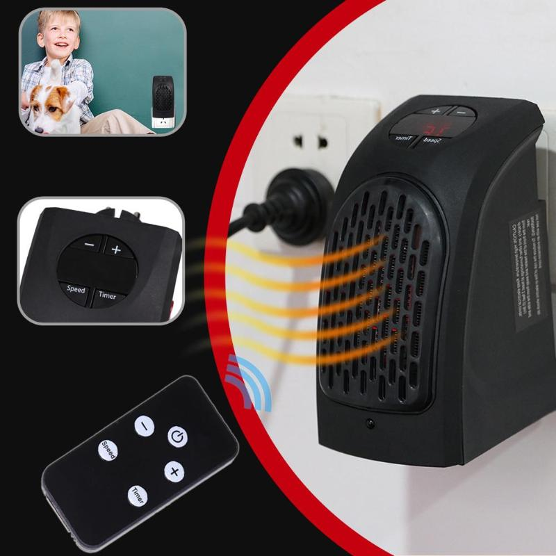 400W Remote Control, Mini Wall Mounted Electric Heater - Black