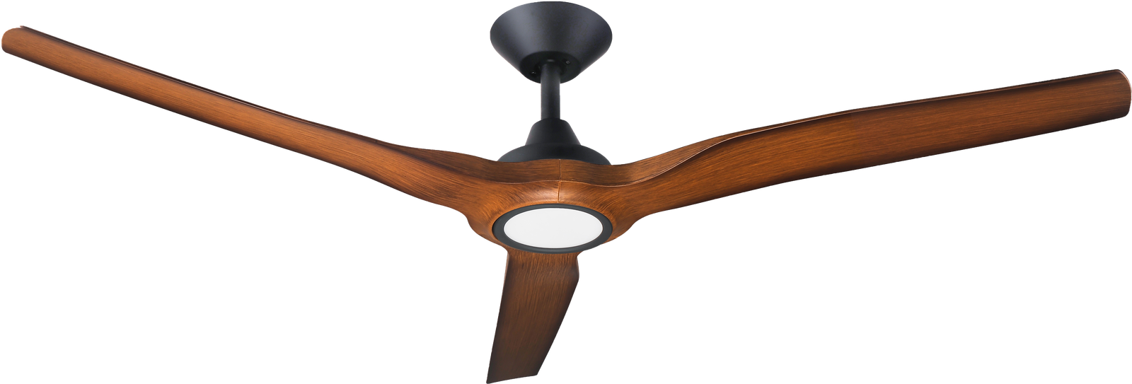 "Radical 2 Matt Black with Koa Blades 60"" with Light Ceiling Fan"