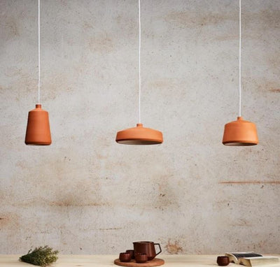 Flame 14 Terracotta Clay Pendant