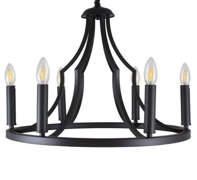 Throne Black 6 Light Pendant