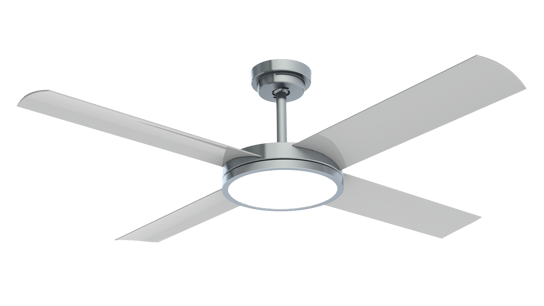 "Revolution 3 with 24W LED Light (Dimmable) 52"" Ceiling Fan - Brushed Aluminium with Silver Blades"