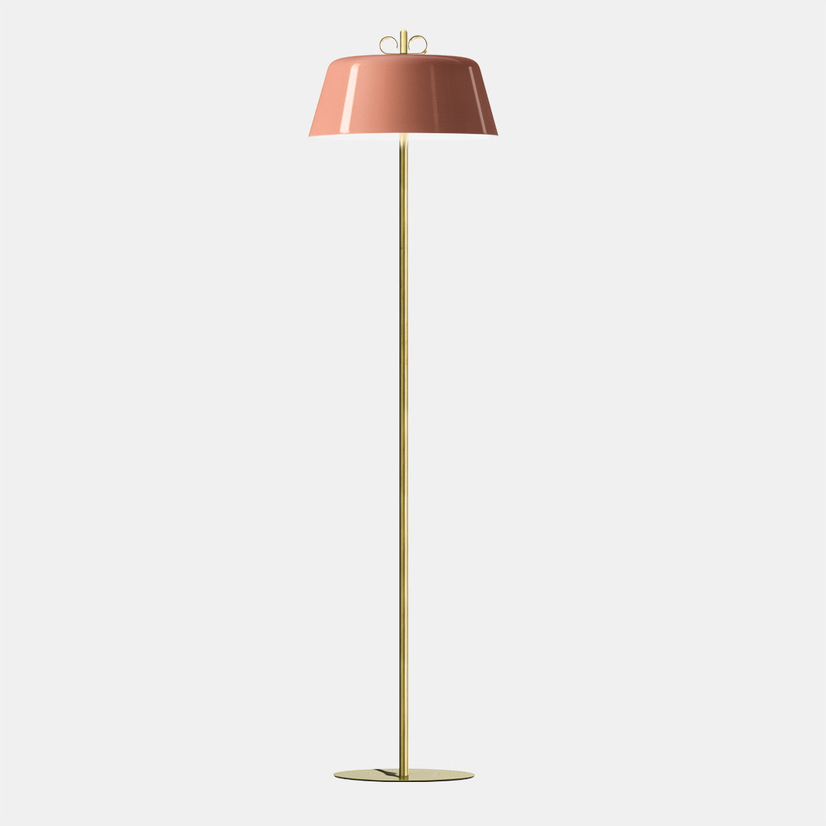 Bon Ton Pink/Natural Brass Floor Lamp