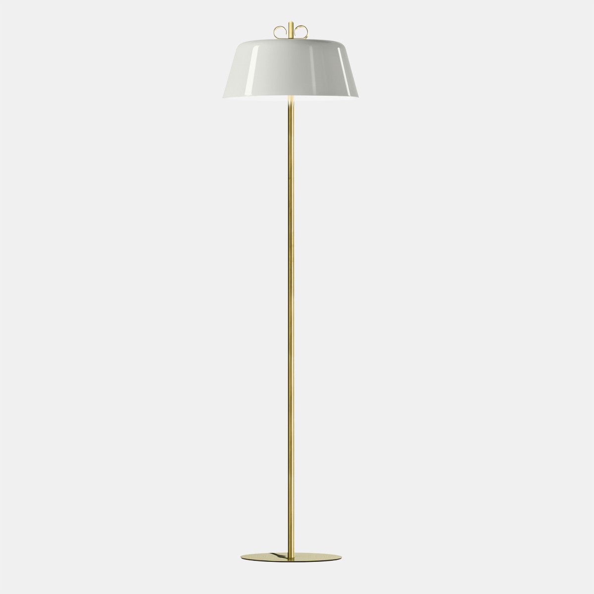 Bon Ton White/Natural Brass Floor Lamp