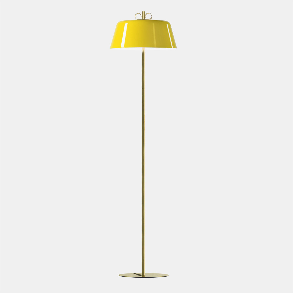 Bon Ton Yellow/Natural Brass Floor Lamp
