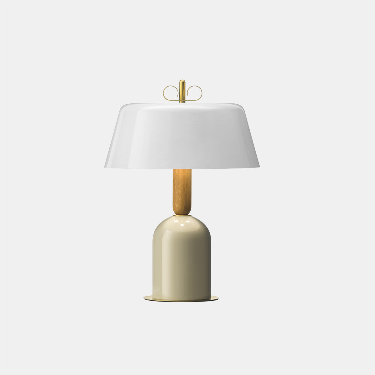 Bon Ton White/Natural Brass Table Lamp