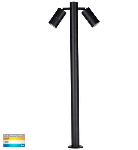 Tivah Black TRI Colour Double Adjustable LED Bollard Light