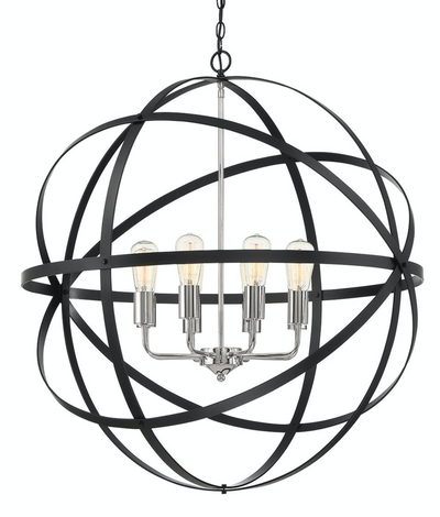 Apollo Large Black Nickel Contemporary Sphere Pendant