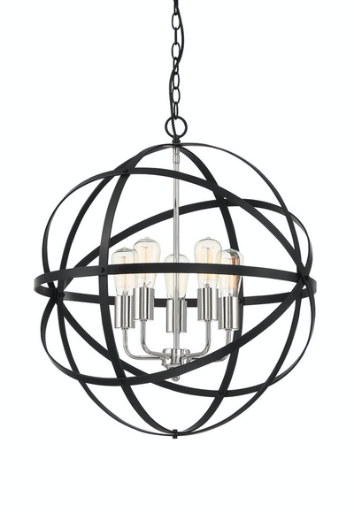 Apollo Medium Black Nickel Contemporary Sphere Pendant