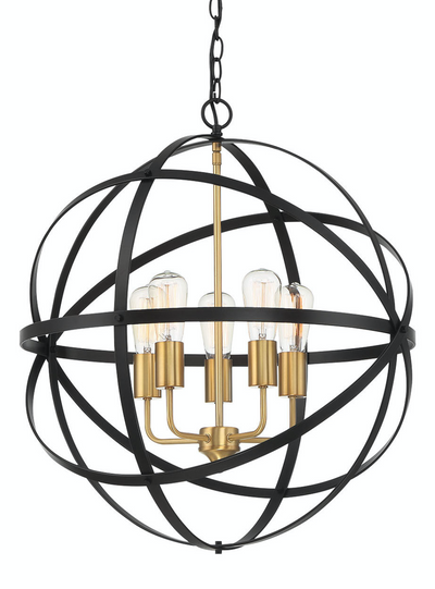 Apollo Medium Black Gold Contemporary Sphere Pendant
