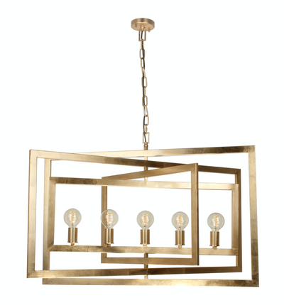 New York Large Gold Leaf Multi Framed Rectangular Pendant