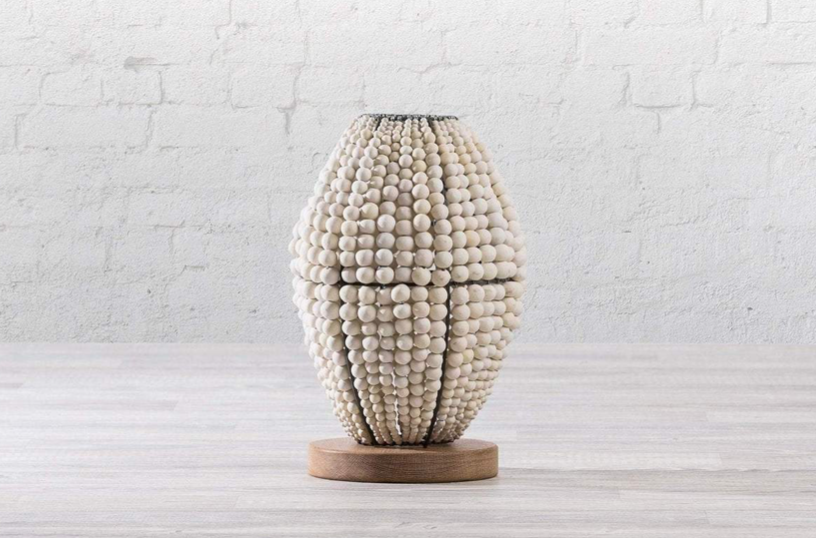 Barrel White Clay Beaded Table Lamp