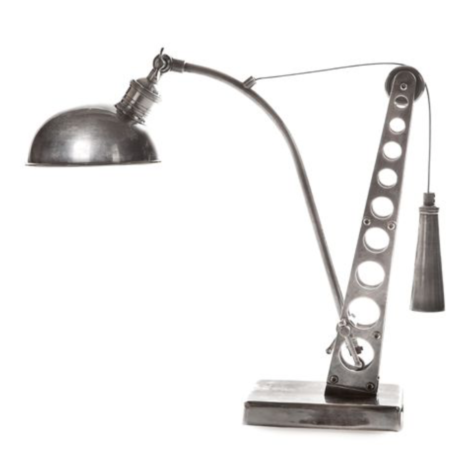 Hub Antique Silver Desk Lamp