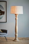 Halter Natural Turned Wood Candlestick Floor Lamp