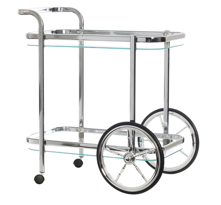 Smith Clear Chrome Rectangular Glass Bar Cart