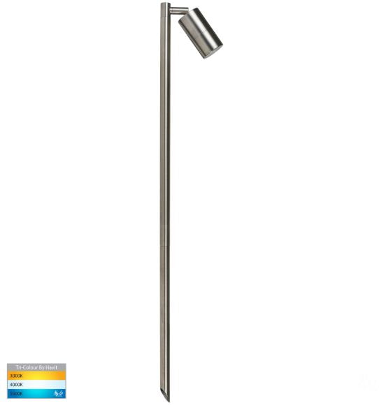 Tivah 316 Stainless Steel TRI Colour Single Adjustable LED Bollard Spike Light