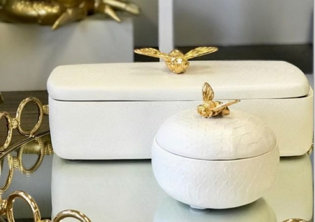 Textured Rectangle Cream Decor Box Bee Gold