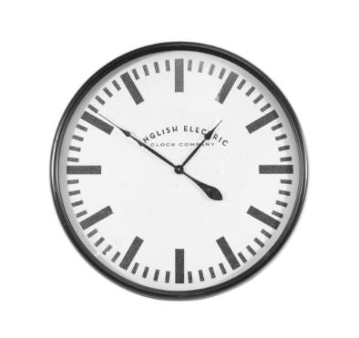 English Black & White Metal Electric Clock