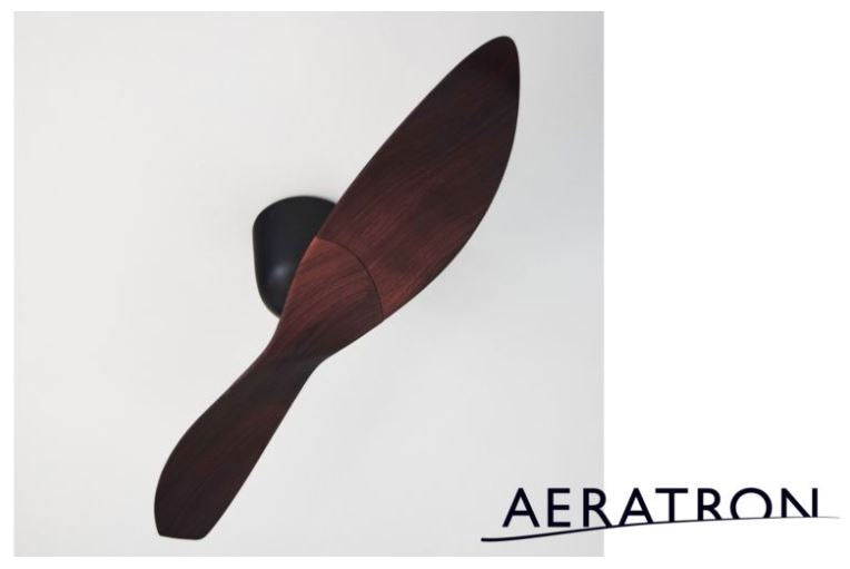 Aeratron AE2+ 2 Blade Black with Dark Walnut DC Ceiling Fan with Remote