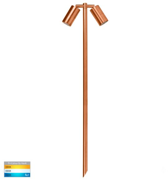 Tivah Solid Copper TRI Colour Double Adjustable LED Bollard Spike Light