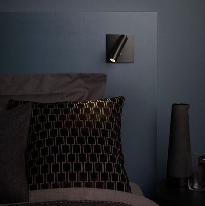 Enna Square Switched LED Matte Black Wall Light