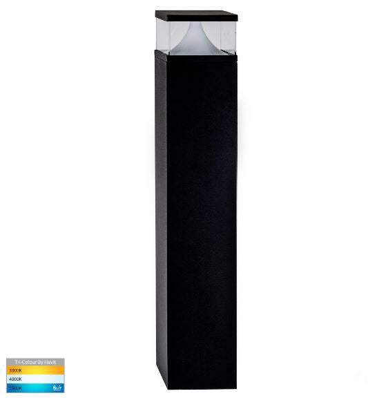 Divad 600mm Black Square LED Bollard Light