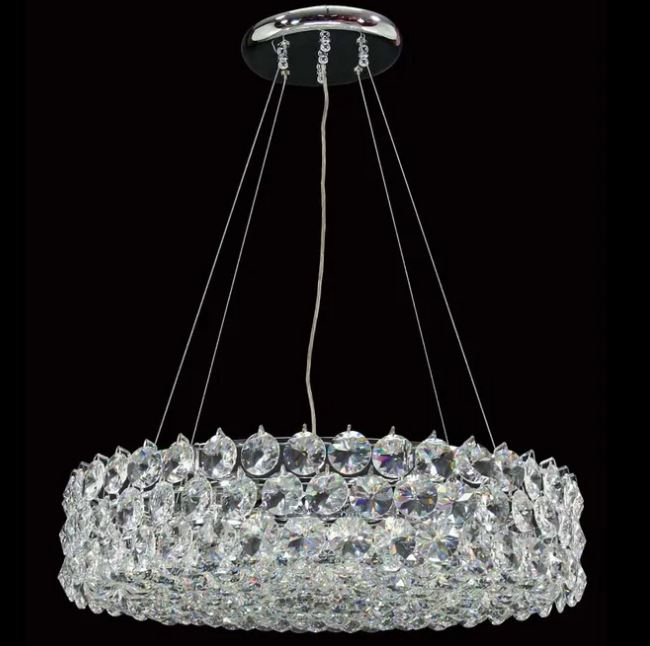 Dove Large Crystal Chrome Chandelier