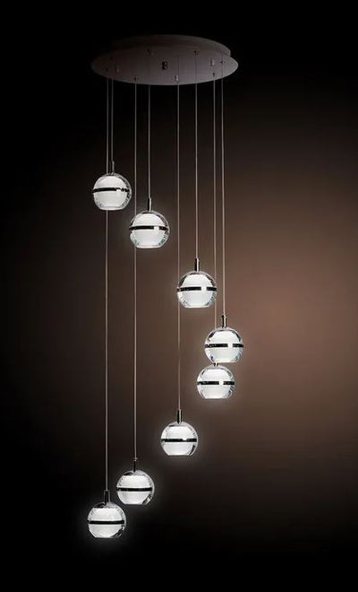 Sphere Chrome 5000K LED 8 Light Pendant