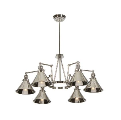 Provence 6 Light Polished Nickel Chandelier