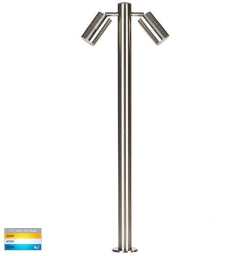 Tivah 316 Stainless Steel TRI Colour Double Adjustable LED Bollard Light