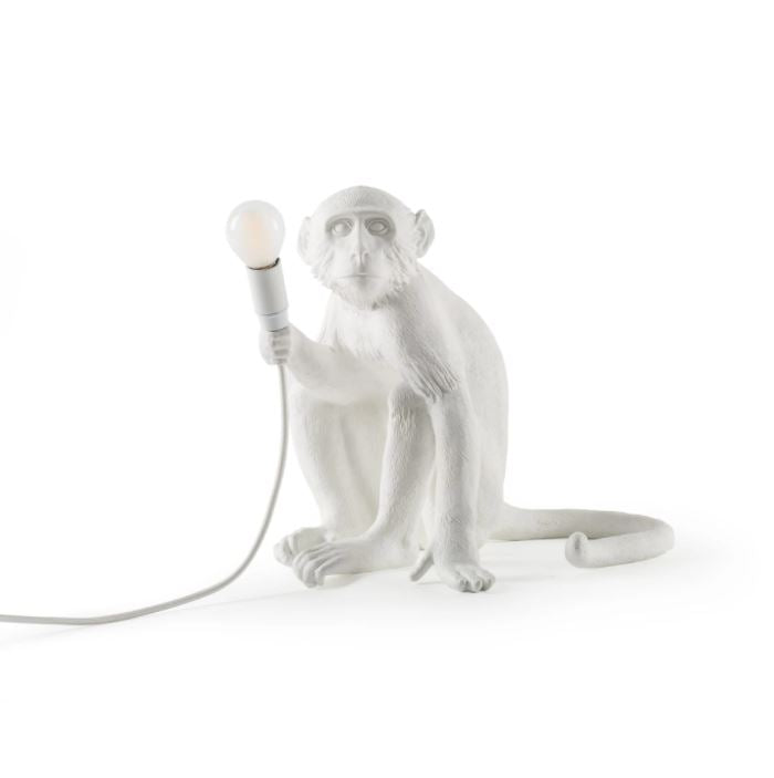 Sitting White Monkey Lamp