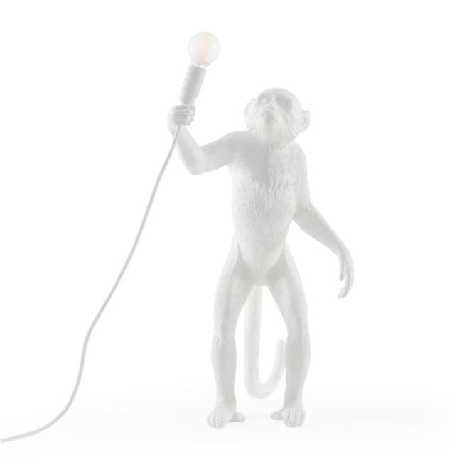 Standing White Monkey Lamp