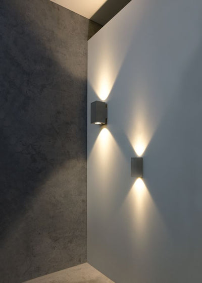 Zeron Mini Grey Exterior Fixed Two Wall Light