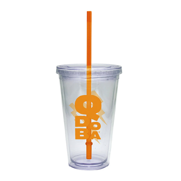 QDOBA 20 OZ. CLEAR CUP W/ORANGE STRAW