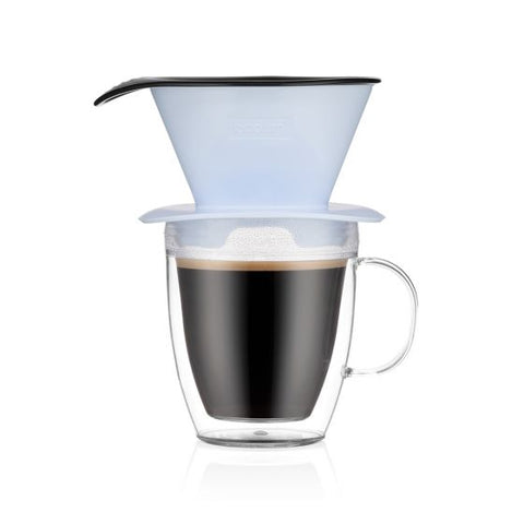 Bodum Pour Over Coffee Dripper and double wall mug - Blue Moon - 0.35L