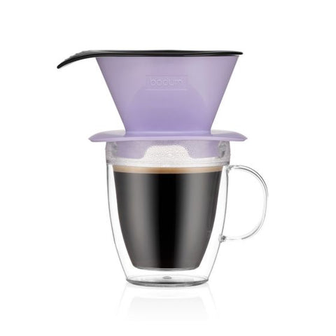 Bodum Pour Over Coffee Dripper and double wall mug - Verbena Purple - 0.35L