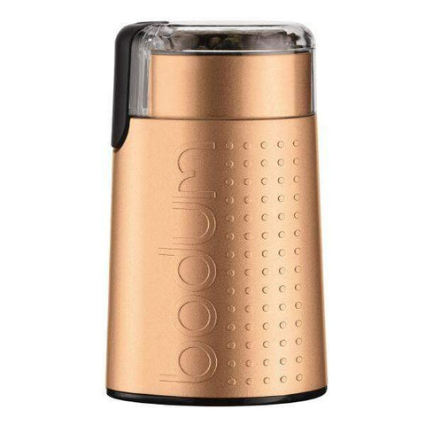 Bodum Bistro Electric Coffee Grinder in Brushed Aluminium Copper