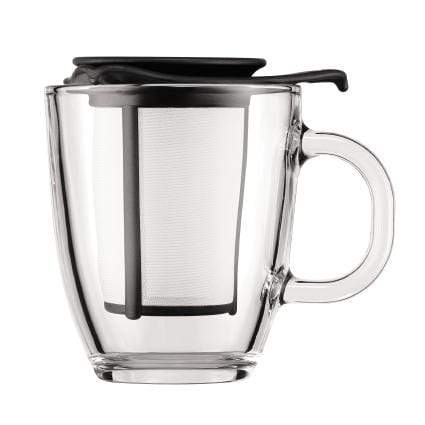 Bodum YO-YO Glass Mug with Loose Leaf Tea Strainer (0.35 L/12 oz) - Black